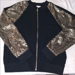 🖤💛 Xhilaration Black & Gold Sequin Bomber 💛🖤